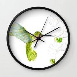 Hummingbird with moonflowers  Wall Clock