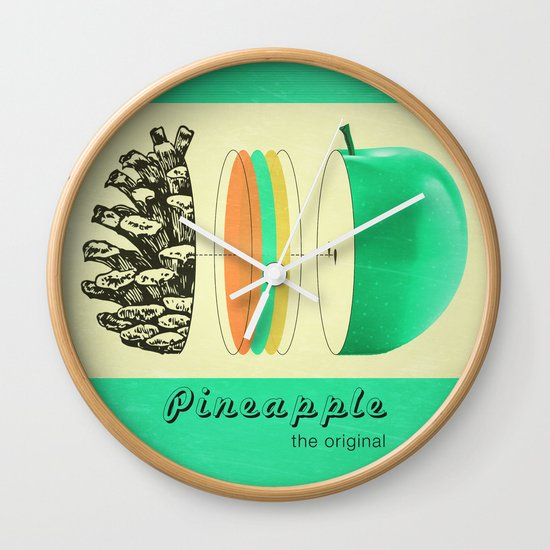 pineapple, the original Wall Clock by AmDuf