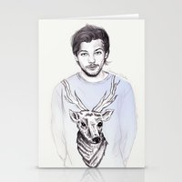 coconutwishes Stationery Cards featuring Louis and his deer by Coconut Wishes