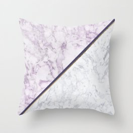 Lavender white faux gold abstract geometric marble Throw Pillow