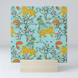 Tigers and Fish in Vietnam - Turquoise Mini Art Print