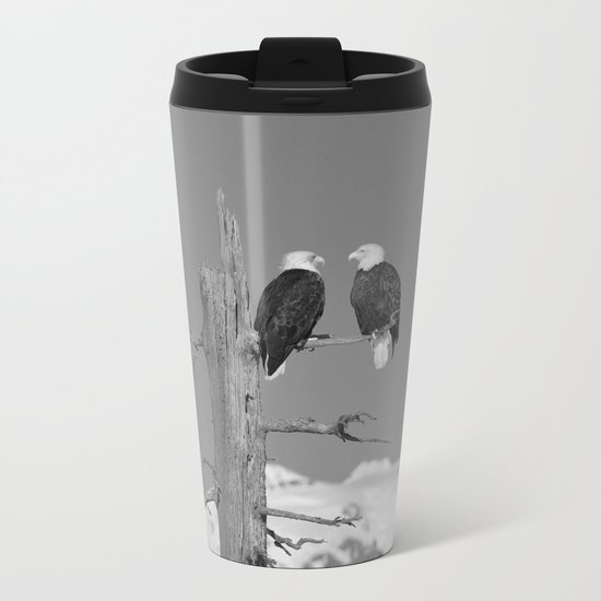 Perched With A View Duo - B & W Metal Travel Mug