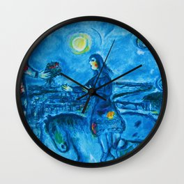 Lovers Over Paris, France landscape painting by Marc Chagall Wall Clock
