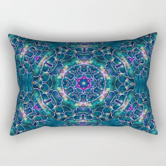 Blue butterfly wings mandala Rectangular Pillow