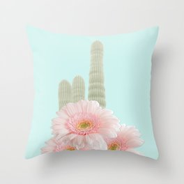 Cactus Flowers Bouquet Throw Pillow