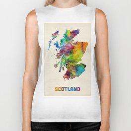 Scotland Watercolor Map Biker Tank