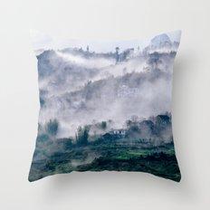 Foggy Mountain of Sa Pa in VIETNAM Throw Pillow