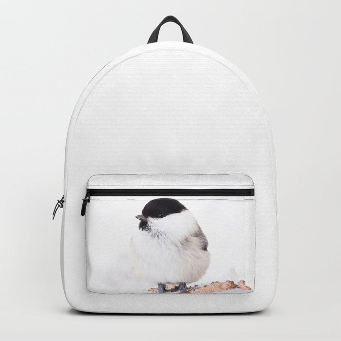 Cute Willow Tit sitting in the snow #decor #society6 #buyart Backpack