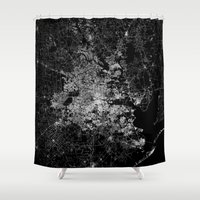 houston Shower Curtains featuring Houston map by Line Line Lines