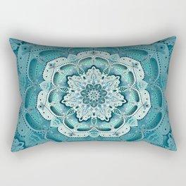 Winter blue floral mandala Rectangular Pillow