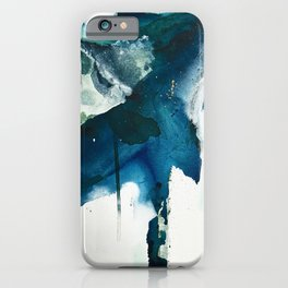 Untamed: a pretty, minimal, abstract painting in blue, white and gold by Alyssa Hamilton Art  iPhone Case