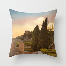 Sunset in castle La Alcazaba Throw Pillow