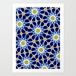 Blue & Green Mosaic Pattern Art Print