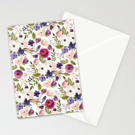Violet and Pink Blossom on White Stationery Cards