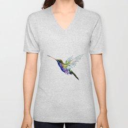 Flying Hummingbird, Blue green wall art minimalist bird Unisex V-Neck