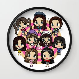 Twice 9 Members All Chibi - Kpop Girlband Korea Wall Clock