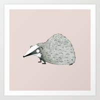 badger Art Prints featuring Badger by rhian wright