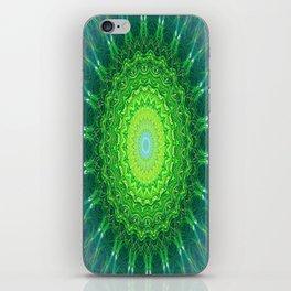 Glowing Green Ribbon Kaleidoscope iPhone Skin