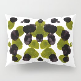 Olive Green And Black Ink Blot Pattern Pillow Sham