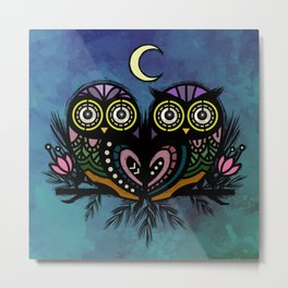 A Perfect Pair Of Midnight Moonlit Owls Metal Print