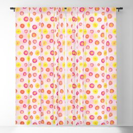 Pink, Orange and Yellow dotted Blackout Curtain