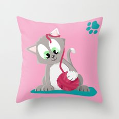 Kitten number 2 of 3 silver cats Throw Pillow