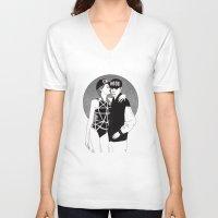 universe V-neck T-shirts featuring universe by Les Gutiérrez