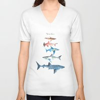 sharks V-neck T-shirts featuring Sharks by Amee Cherie Piek