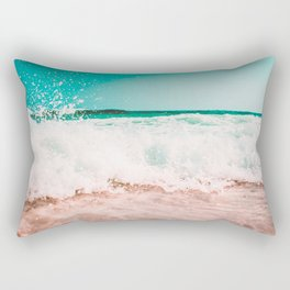 Ocean Waves Teal Pink Rectangular Pillow