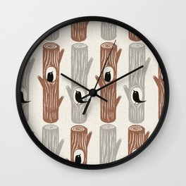 logs and birds Wall Clock
