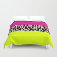 the national Duvet Covers featuring Leopard National Flag X by M Studio