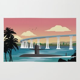San Diego, CA - Retro Submarine Travel Poster Rug