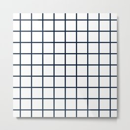 GRID DESIGN (NAVY BLUE-WHITE) Metal Print