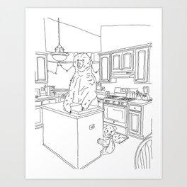 Bears in the Kitchen Art Print