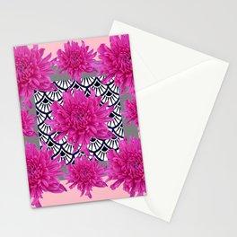GREY ART DECO FUCHSIA CHRYSANTHEMUM FLORAL Stationery Cards