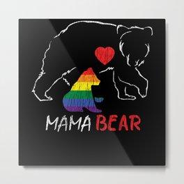 Rainbow Mama Bear Cube Mom Gay LGBTQ Pride Metal Print
