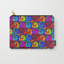 Spiral Tie Dye Checkerboard Carry-All Pouch