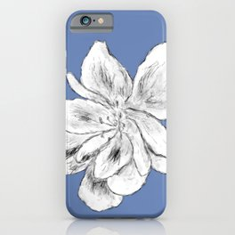 Sketchy Malva Flower Drawing (indigo back) iPhone Case