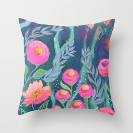 Boho Artwork, Floral Painting, Pink and Coral Flowers, Blue Turquoise Painting, Throw Pillow
