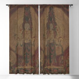 Eleven-Headed, Thousand-Armed Bodhisattva of Compassion 16th Century Classical Tibetan Buddhist Art Blackout Curtain
