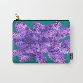 Purple Lilac Bouquet on Teal Color Carry-All Pouch