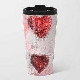 Heart Love Red Mixed Media Pattern Gift Travel Mug