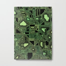 Green circuitry Metal Print