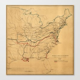 Historical Sketch of the Rebellion Civil War Map (May 1862) Canvas Print