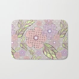 Flowers in polka dots. Bath Mat
