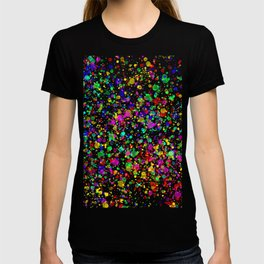 Abstract vivid multi coloured paint splatter effect T-shirt