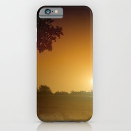 Orange full moon rising landscape iPhone Case