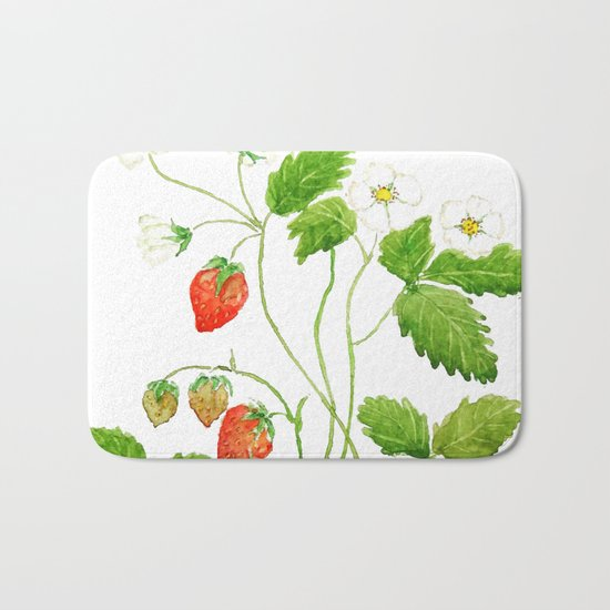 strawberry and strawberry flowers watercolor painting Bath Mat