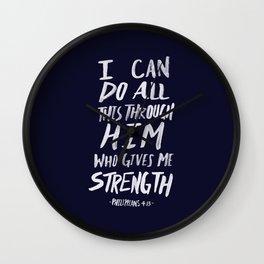 Philippians 4: 13 x Navy Wall Clock