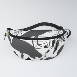 Black crowned crane with grass and flowers black silhouette Fanny Pack